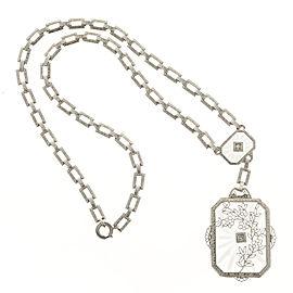 14K White Gold with Quartz & 0.08ct Diamond Necklace