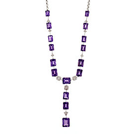 18k White Gold Emerald Cut Amethyst Necklace with Diamond Accents