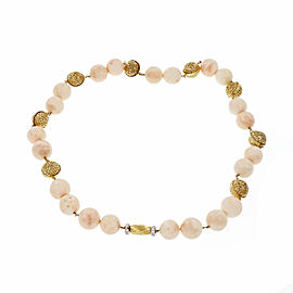 14K Yellow Gold & 18K Yellow and White Gold with Beads & 0.50ct Diamond Necklace