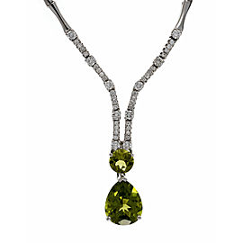 18K White Gold with Peridot & Diamond Pendant Necklace