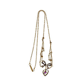 14K Yellow Gold with 0.58ct Diamond, Heart Ruby & Pearl Necklace