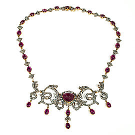 14K Yellow Gold and Silver with 25.0ct. Tourmaline & 6.50ct Diamond Pendant Necklace