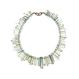 18K Yellow Gold with 505.00ct Aquamarine Crystal Necklace