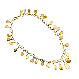 Vintage 18K Yellow Gold with 145ct. Citrine Carved Drops Quartz Necklace