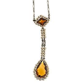 Platinum Vintage Art Deco 1920s Citrine Cultured Pearl Lavaliere Necklace
