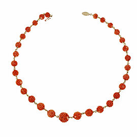 14K Yellow Gold Carved Coral Beads Necklace