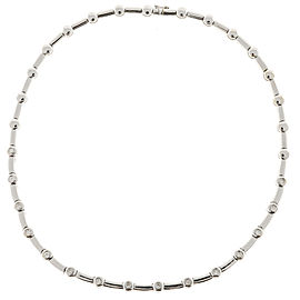 18K White Gold with 0.75ct Diamond Tube And Bar Link Necklace