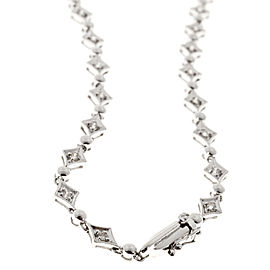 14K White Gold with 1.11ct Diamond Marquise Hinged Link Necklace