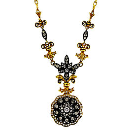 18K Yellow Gold and Blackened Silver with 2.60ct Diamond Eutruscian Necklace