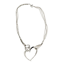 14K White Gold Heart Diamond Pendant Vintage Necklace