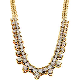 18K Yellow Gold with 4.00ct Diamond Vintage Link Necklace