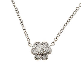 Vintage 18K White Gold with 0.10ct Diamond Daisy Flower Pendant Cable Link Chain Necklace