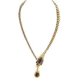 14K Yellow Gold with Garnet Dragon Serpent Snake Necklace