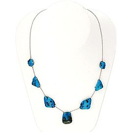 14k White Gold Rare Blue Opal Necklace