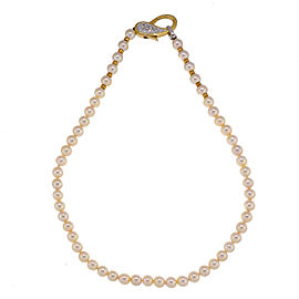 Vintage Cultured Pearl 18k Yellow Gold Diamond Necklace