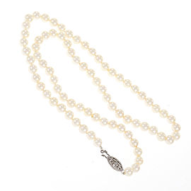 Vintage Estate 14k White Gold Japanese Akoya Cultured Pearl Necklace