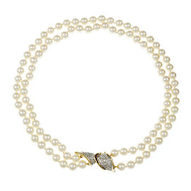 14K White and Yellow Gold with 1.11ct Diamond, Ruby & Cultured Pearl Necklace
