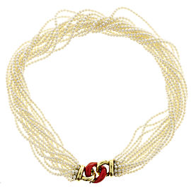 18K Yellow Gold with Pearl & Enamel 13 Strand Necklace