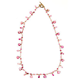 14K Rose Gold with 25.00ct Tourmaline Wire Toggle Necklace