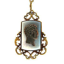 Vintage 1890s English 12k Rose Gold Carved Hardstone Cameo 27 In Dangle Necklace