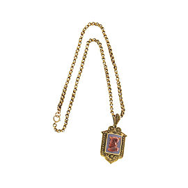 Vintage 14K Yellow Gold Carnelian Pendant Locket Necklace