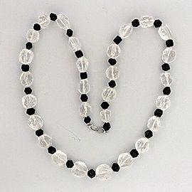 14k White Gold Natural Rough 435.0ct Quartz Crystal Black Tourmaline 92.00ct Necklace