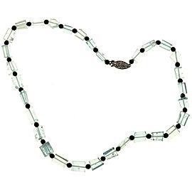 14K White Gold with 150ct Aquamarine Crystal & Onyx Bead Necklace