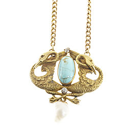 14k Yellow Gold Art Nouveau Turquoise Baroque Cultured Pearl Swan Necklace