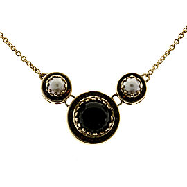 14K Yellow Gold with Mobe Pearl, Onyx & Garnet Necklace
