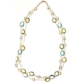 14K Yellow Gold with Quartz, Topaz & Amethyst Necklace