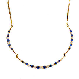 14K Yellow Gold with 2.50ct Sapphire with Pearl Necklace