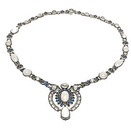 14K White Gold with 30.00ct Moonstone & Sapphire Necklace