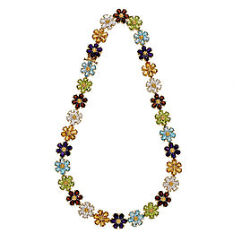 18K Yellow Gold with 78.50ct Multi Color Stone Vintage Necklace