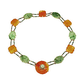 14K Yellow Gold with Jadeite Jade, Pearl & Carnelian Necklace