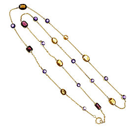14K Yellow Gold with Amethyst, Citrine & Garnet Chain Necklace