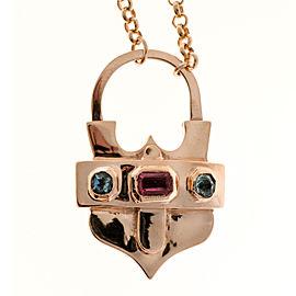 Vintage 14K Pink Gold Pink Tourmaline and Aquamarine Pendant Chain Necklace