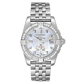 Breitling Galactic 36 MOP Dial Diamond Steel Ladies Watch A37330 Unworn