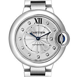 Cartier Ballon Bleu 33mm Automatic Diamond Steel Ladies Watch WE902074