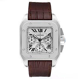 Cartier Santos 100 XL Silver Dial Chronograph Watch W20090X8