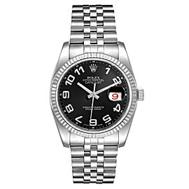 Rolex Datejust Steel White Gold Black Concentric Dial Watch 116234