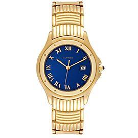 Cartier Cougar 18K Yellow Gold Blue Dial Unisex Watch 11651