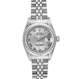 Rolex Datejust 26 Steel White Gold Silver Roman Dial Ladies Watch 69174