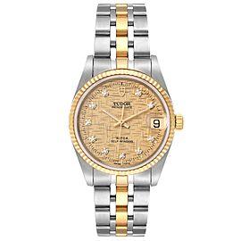 Tudor Prince Date Steel Yellow Gold Diamond Mens Watch 72033