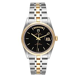 Tudor Day Date Black Dial Steel Yellow Gold Mens Watch 76213 Unworn