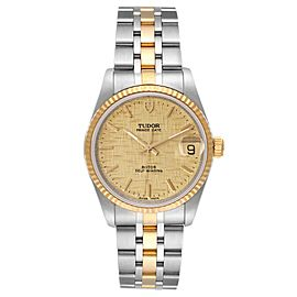 Tudor Prince Date Steel Yellow Gold Champagne Dial Mens Watch 72033