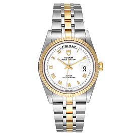 Tudor Day Date White Dial Steel Yellow Gold Mens Watch 76213