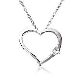 Diamond Heart Pendant in 14K White Rose or Yellow Gold - white-gold