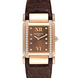 Patek Philippe Twenty-4 Rose Gold Brown Diamond Dial Ladies Watch 4920R