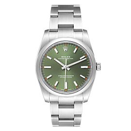 Rolex Oyster Perpetual 34mm Olive Green Dial Steel Watch 114200