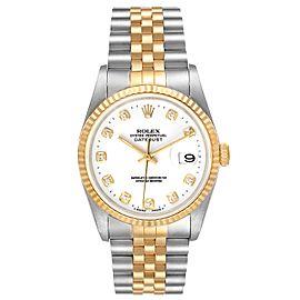 Rolex Datejust Steel Yellow Gold White Diamond Dial Watch 16233